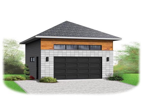 Contemporary 2 Car Garage Plan 76377 Elevation
