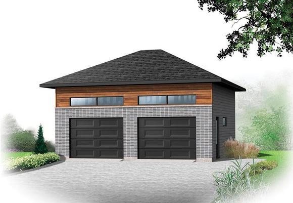 Contemporary 2 Car Garage Plan 76378 Elevation