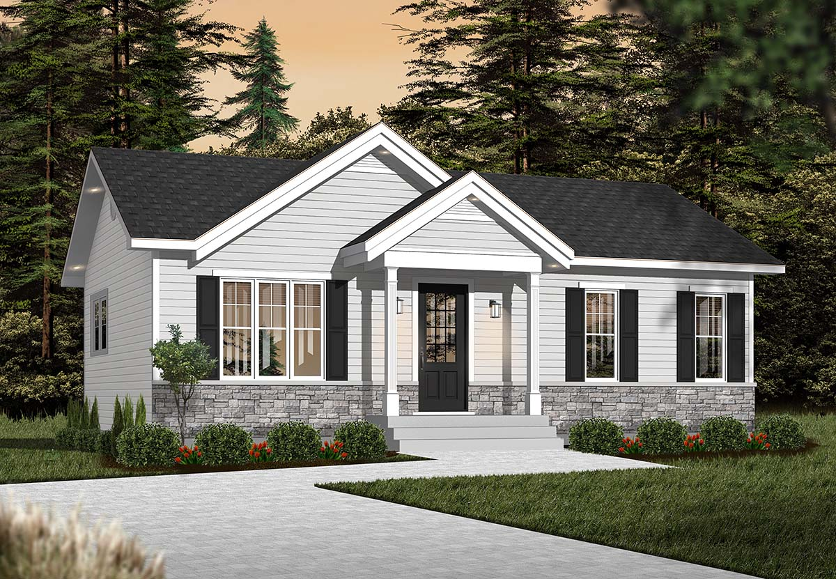 Cabin Ranch Traditional House Plan 76385 Elevation