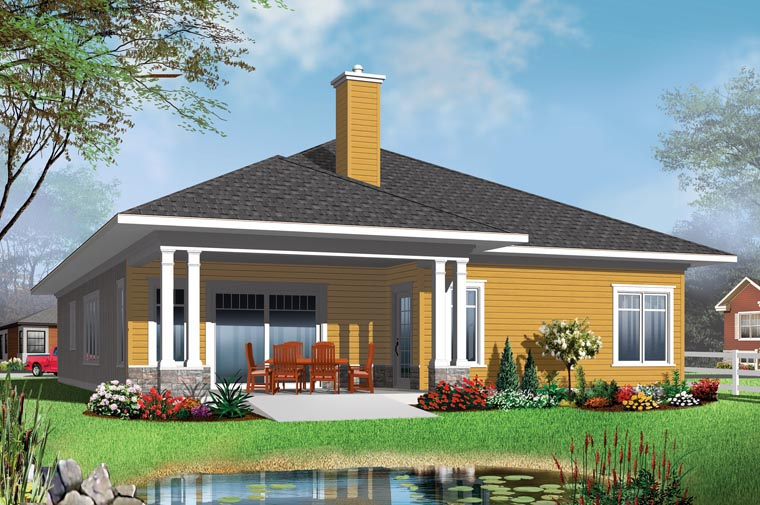House Plan 76388 Rear Elevation