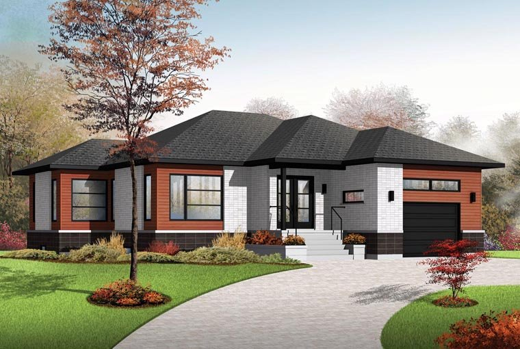 House plan 76390 at for Multiplex exterieur