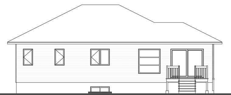 Contemporary House Plan 76390 Rear Elevation