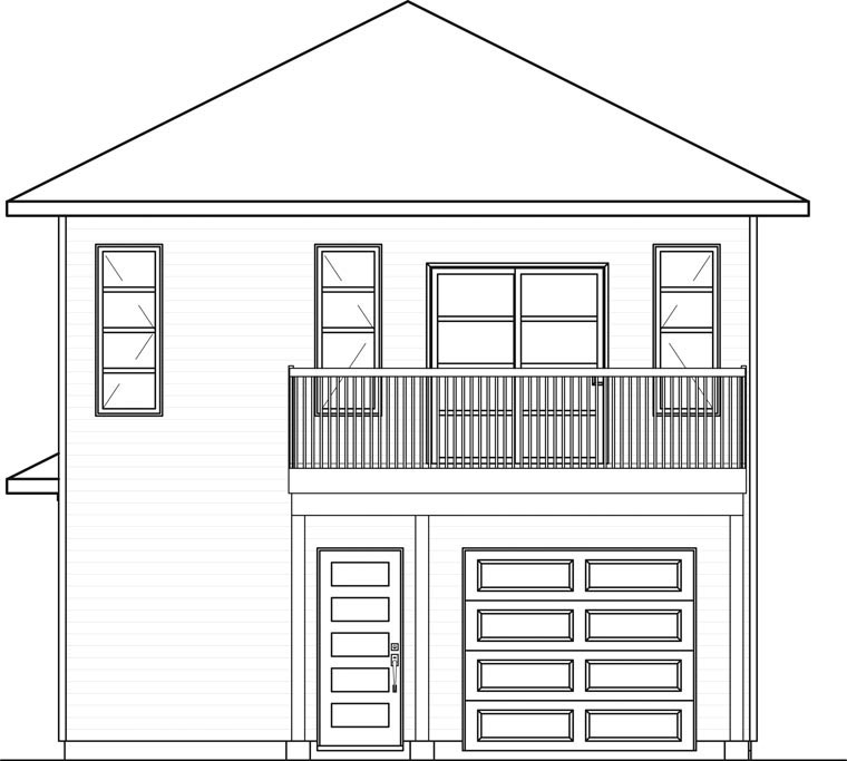 Contemporary Cottage Rear Elevation of Plan 76395