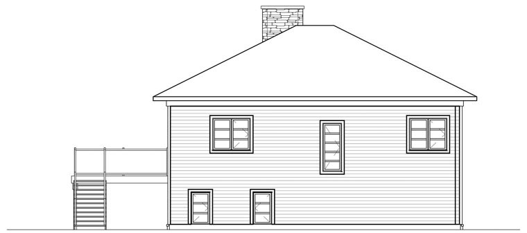 Contemporary Cottage House Plan 76397 Rear Elevation