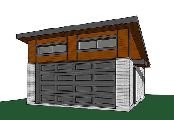 Contemporary, Modern 2 Car Garage Plan 76400 Elevation