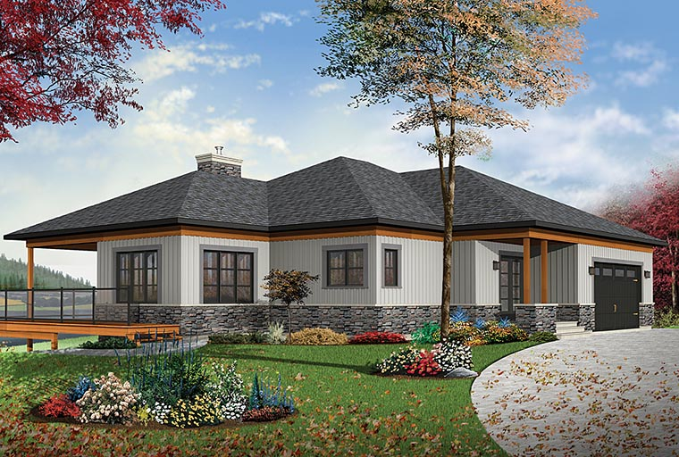 Coastal, Contemporary, Ranch House Plan 76406 with 4 Beds, 4 Baths, 2 Car Garage Elevation