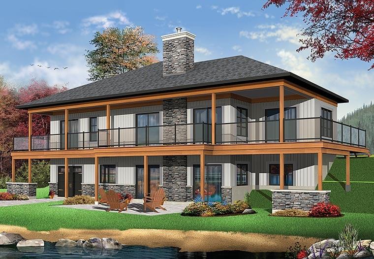 Coastal, Contemporary, Ranch House Plan 76406 with 4 Beds, 4 Baths, 2 Car Garage Rear Elevation
