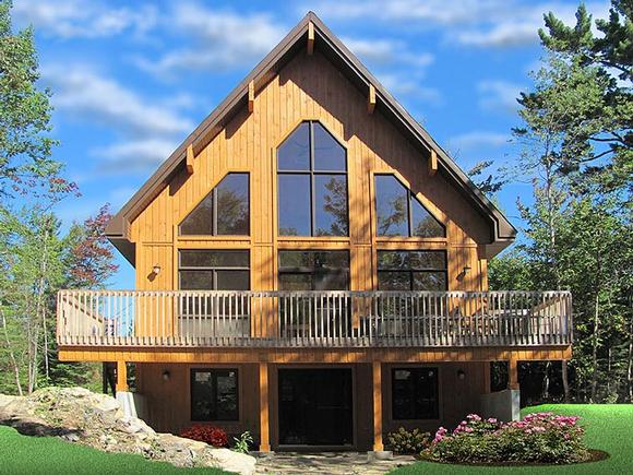Cabin, Contemporary House Plan 76407 with 3 Beds, 2 Baths Elevation