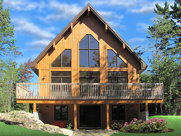 A-Frame Cabin Contemporary House Plan 76407 Elevation