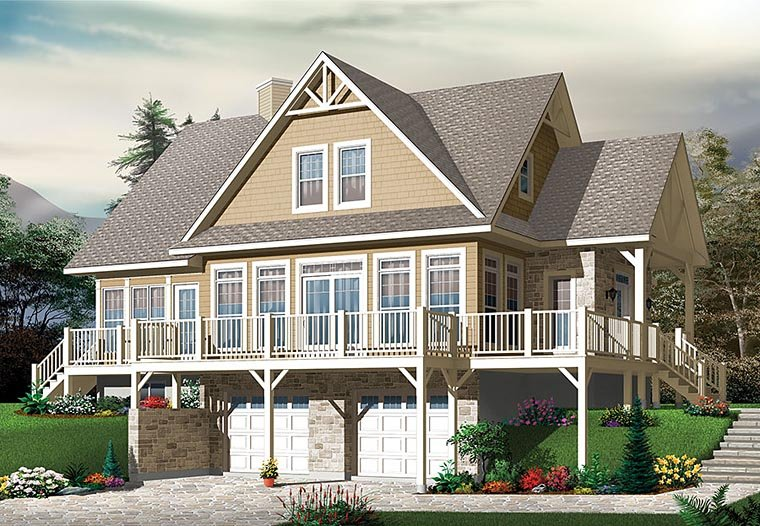 Coastal Contemporary Country Traditional House Plan 76410 Elevation
