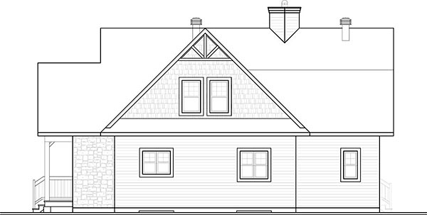 Coastal Contemporary Country Traditional House Plan 76410 Rear Elevation