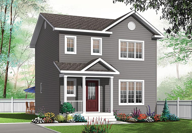 Colonial House Plan 76418 with 3 Beds, 2 Baths Elevation