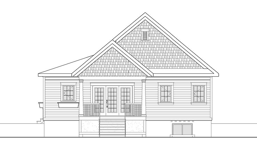 Cape Cod Cottage Country Craftsman House Plan 76448 Rear Elevation