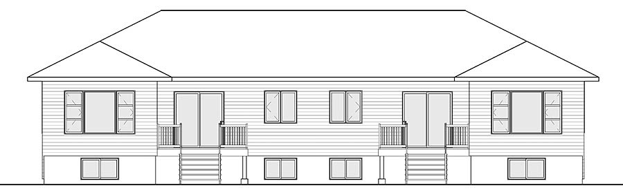 Contemporary Modern Multi-Family Plan 76450 Rear Elevation