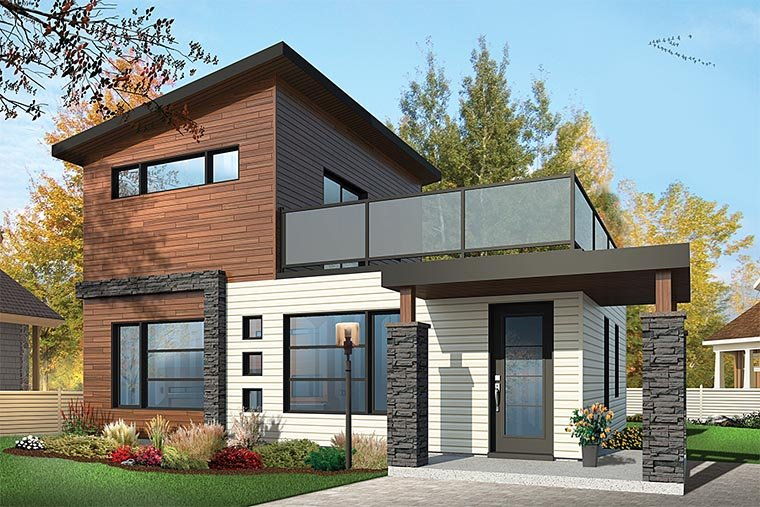 Modern Style House Plan Number 76461 With 2 Bed 2 Bath