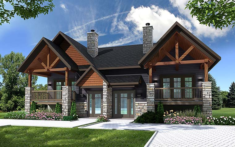 Country Craftsman Multi-Family Plan 76466 Elevation