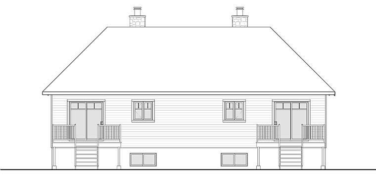 Country, Craftsman Multi-Family Plan 76466 Rear Elevation