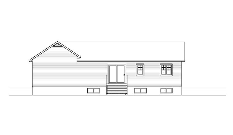 Bungalow Craftsman Ranch Traditional House Plan 76467 Rear Elevation