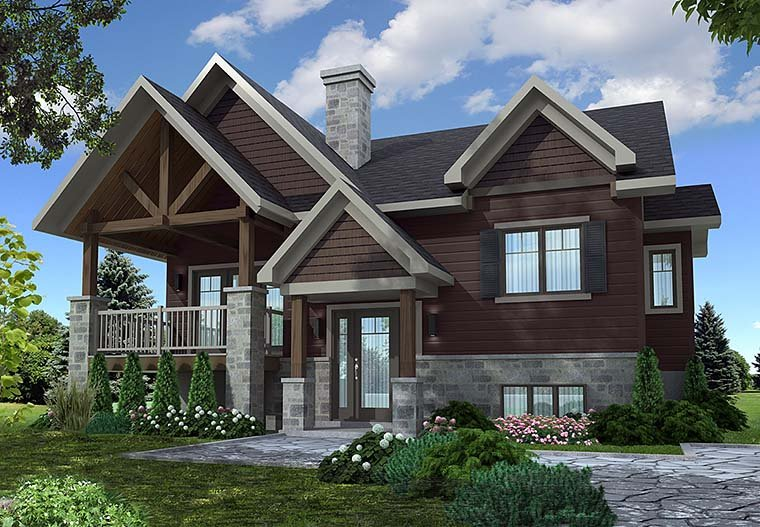 Contemporary Country Craftsman House Plan 76468 Elevation