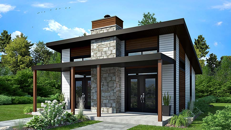 House Plan 76474 - Modern Style with 686 Sq Ft, 2 Bed, 1 Bath