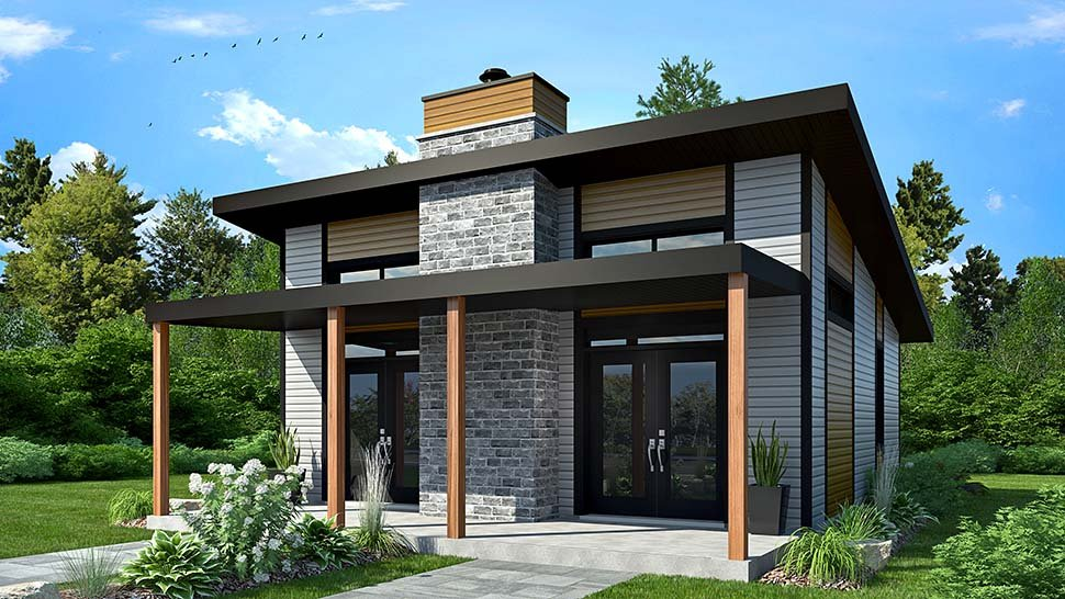 Contemporary, Modern House Plan 76474 with 2 Beds, 1 Baths Picture 1