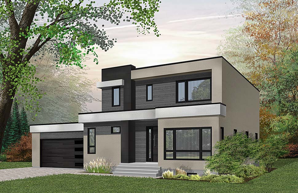Contemporary, Modern House Plan 76500 with 3 Beds, 3 Baths, 2 Car Garage Elevation