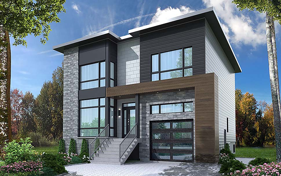 Contemporary, Modern House Plan 76502 with 4 Beds, 4 Baths, 1 Car Garage Elevation
