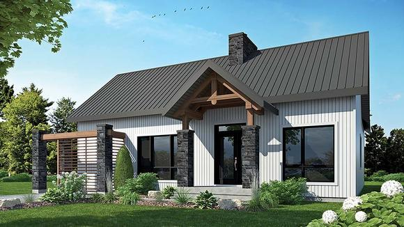 Cape Cod, Contemporary, Cottage, Country, Craftsman, Modern House Plan 76508 with 2 Beds, 1 Baths Elevation