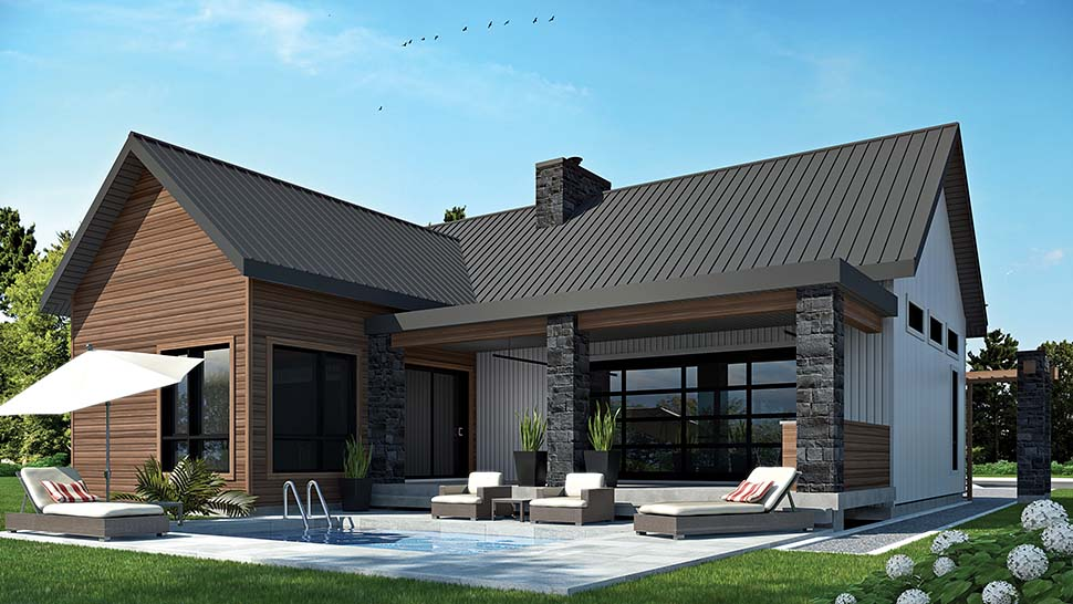 Cape Cod, Contemporary, Cottage, Country, Craftsman, Modern House Plan 76508 with 2 Beds, 1 Baths Picture 1