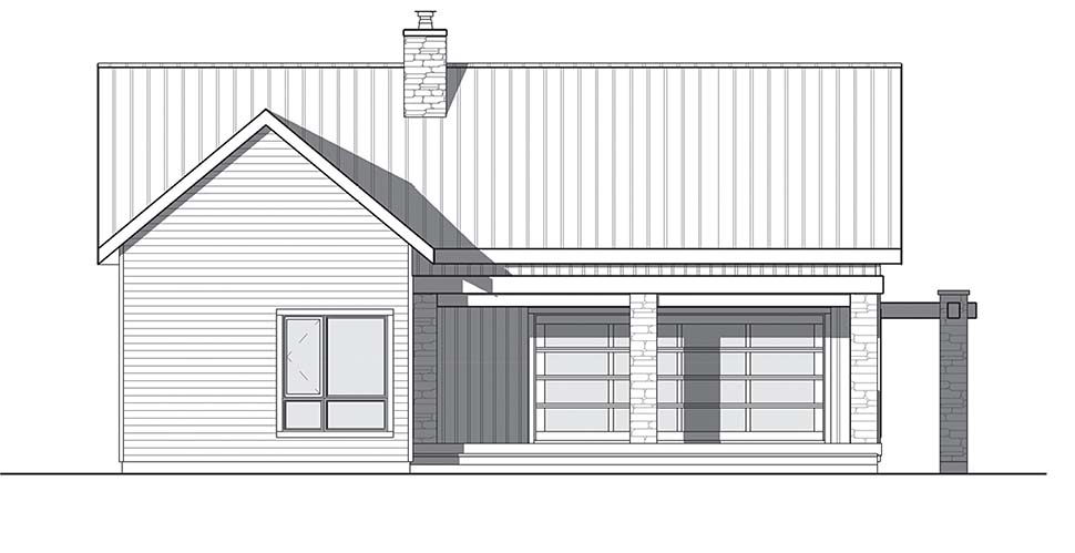 Cape Cod, Contemporary, Cottage, Country, Craftsman, Modern House Plan 76508 with 2 Beds, 1 Baths Rear Elevation