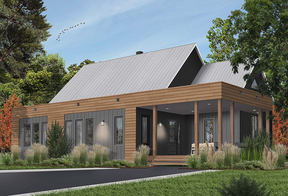 Contemporary, Cottage, Modern House Plan 76527 with 2 Beds, 1 Baths Elevation