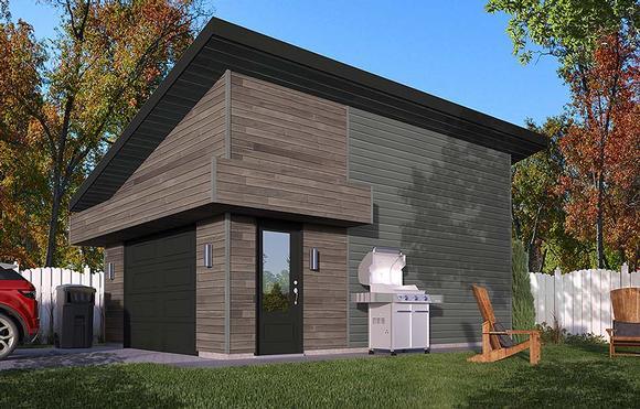 Contemporary 1 Car Garage Plan 76531 Elevation