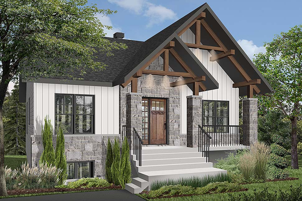 Craftsman Style House Plan 76532 with 2 Bed, 1 Bath
