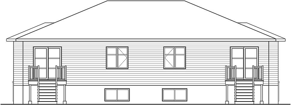 Contemporary, Modern Multi-Family Plan 76534 with 8 Beds, 4 Baths Rear Elevation