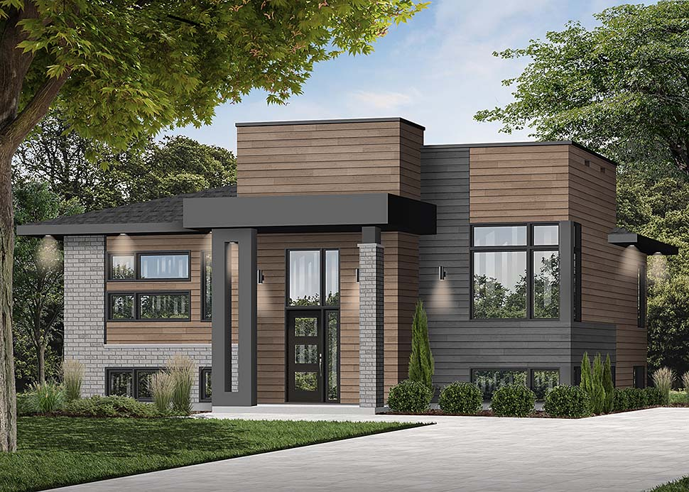 Contemporary, Modern House Plan 76535 with 2 Beds, 1 Baths Elevation