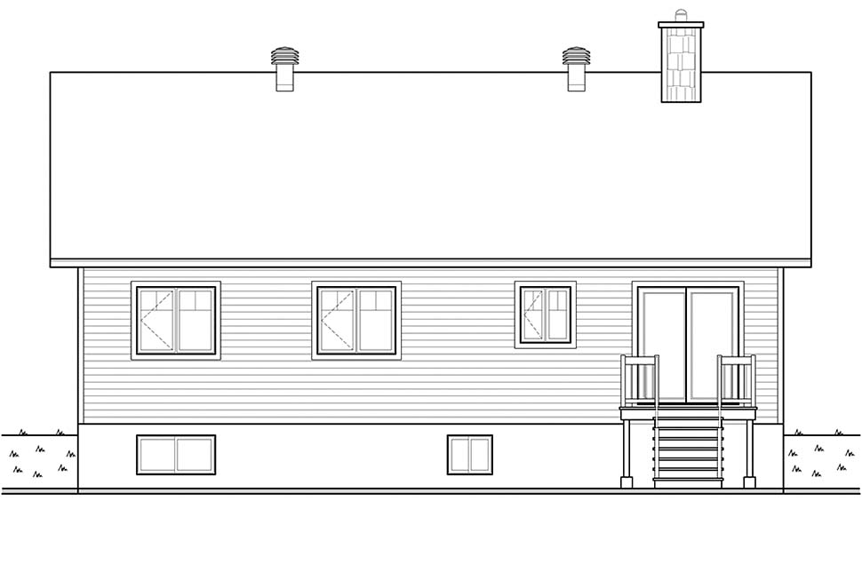 Bungalow, Cottage, Craftsman House Plan 76536 with 3 Beds, 1 Baths Rear Elevation
