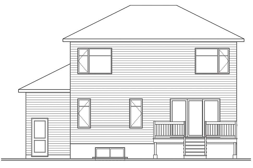Contemporary Modern Rear Elevation of Plan 76539