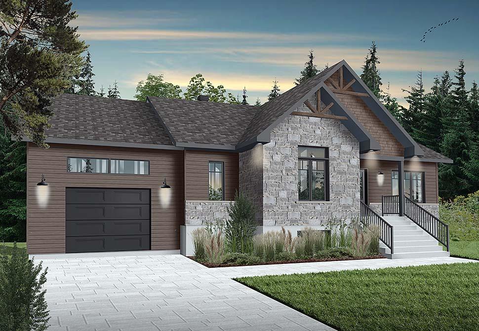 Bungalow, Craftsman House Plan 76542 with 2 Beds, 1 Baths, 1 Car Garage Elevation