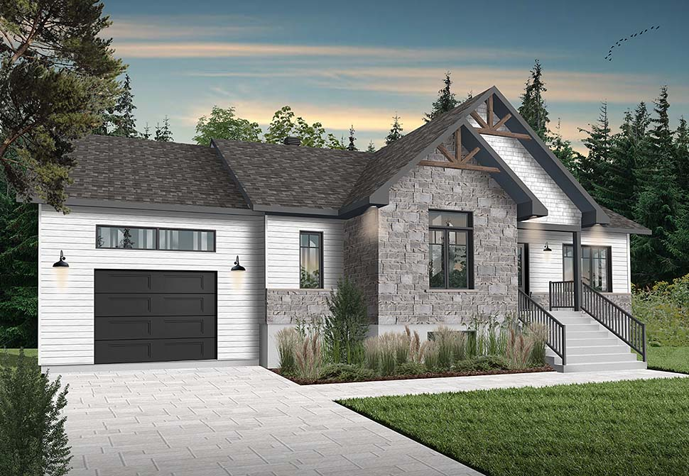 Bungalow, Craftsman House Plan 76542 with 2 Beds, 1 Baths, 1 Car Garage Picture 1