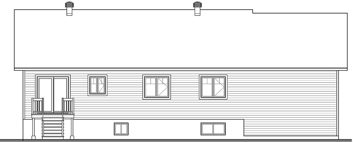 Bungalow, Craftsman House Plan 76542 with 2 Beds, 1 Baths, 1 Car Garage Rear Elevation