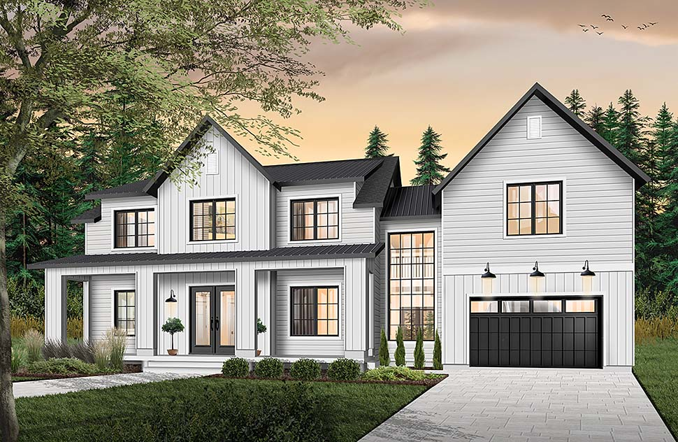 Colonial, Farmhouse, Traditional House Plan 76544 with 3 Beds, 3 Baths, 1 Car Garage Elevation