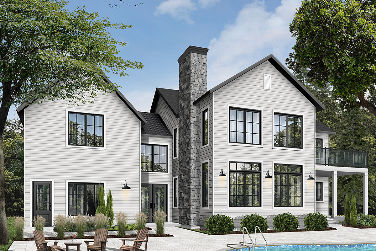 Colonial, Farmhouse, Traditional House Plan 76544 with 3 Beds, 3 Baths, 1 Car Garage Rear Elevation