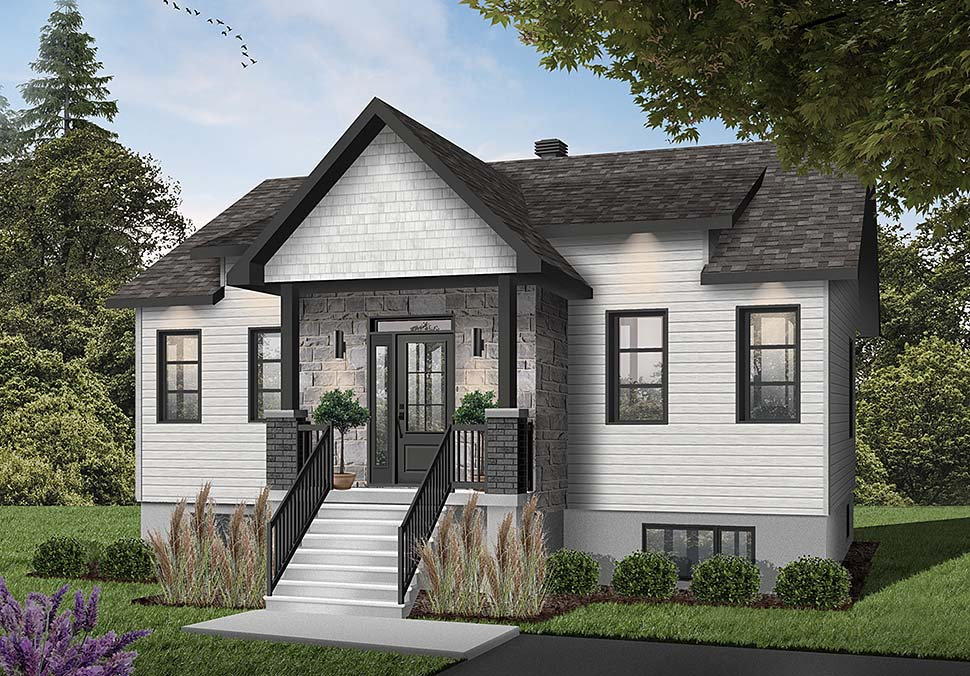 Contemporary, Cottage House Plan 76546 with 2 Beds, 1 Baths Elevation