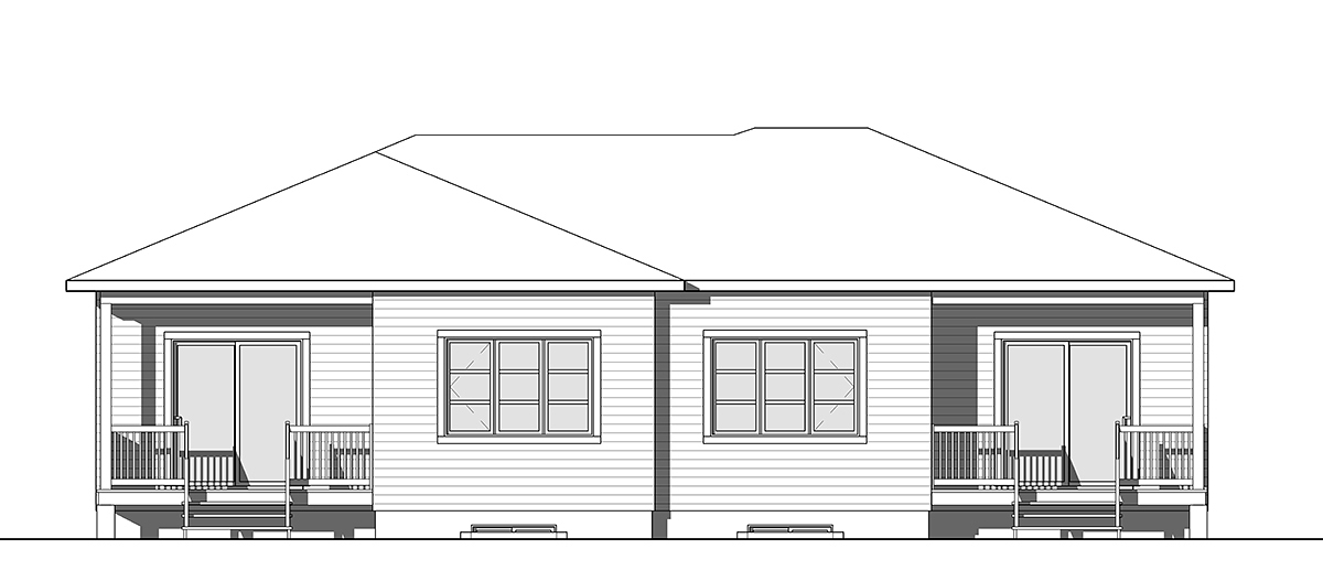 Contemporary, Modern Multi-Family Plan 76548 with 4 Beds, 2 Baths Rear Elevation