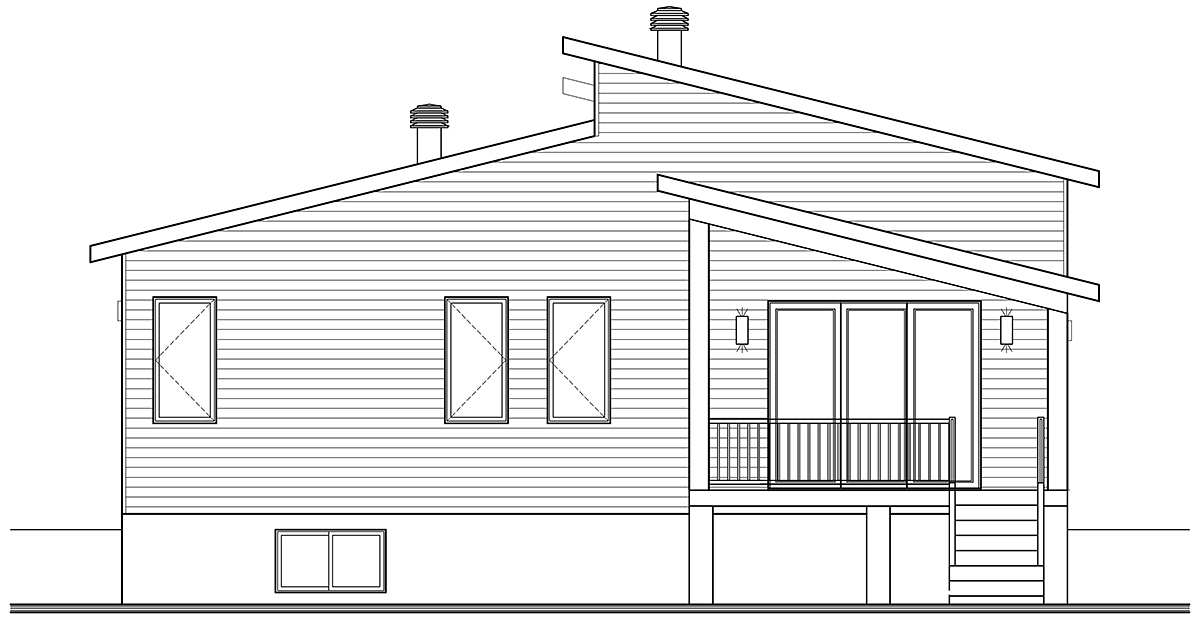 Contemporary, Country, Craftsman, Modern House Plan 76549 with 2 Beds, 1 Baths Rear Elevation