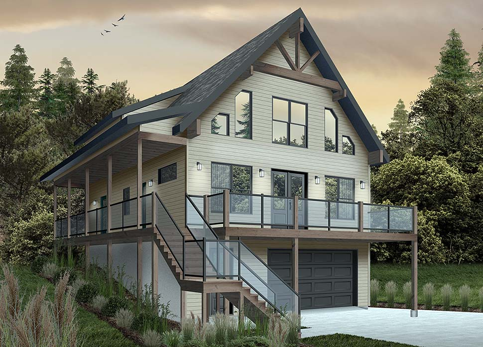 A-Frame, Cabin, Coastal, Cottage, Country House Plan 76550 with 4 Beds, 3 Baths, 1 Car Garage Picture 3