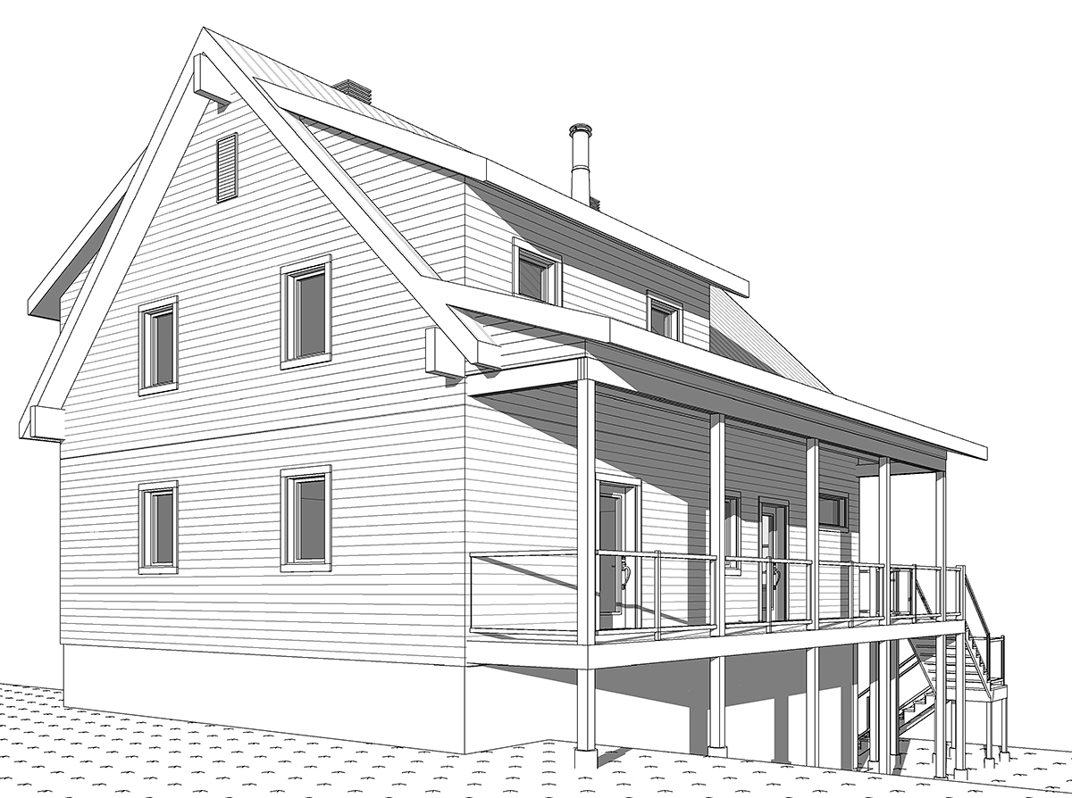 A-Frame, Cabin, Coastal, Cottage, Country House Plan 76550 with 4 Beds, 3 Baths, 1 Car Garage Rear Elevation