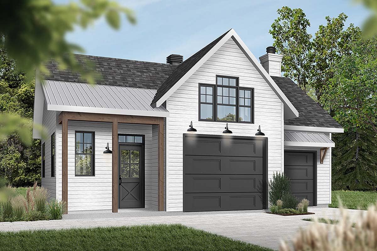 Cape Cod, Contemporary, Farmhouse 1 Car Garage Plan 76560 Elevation
