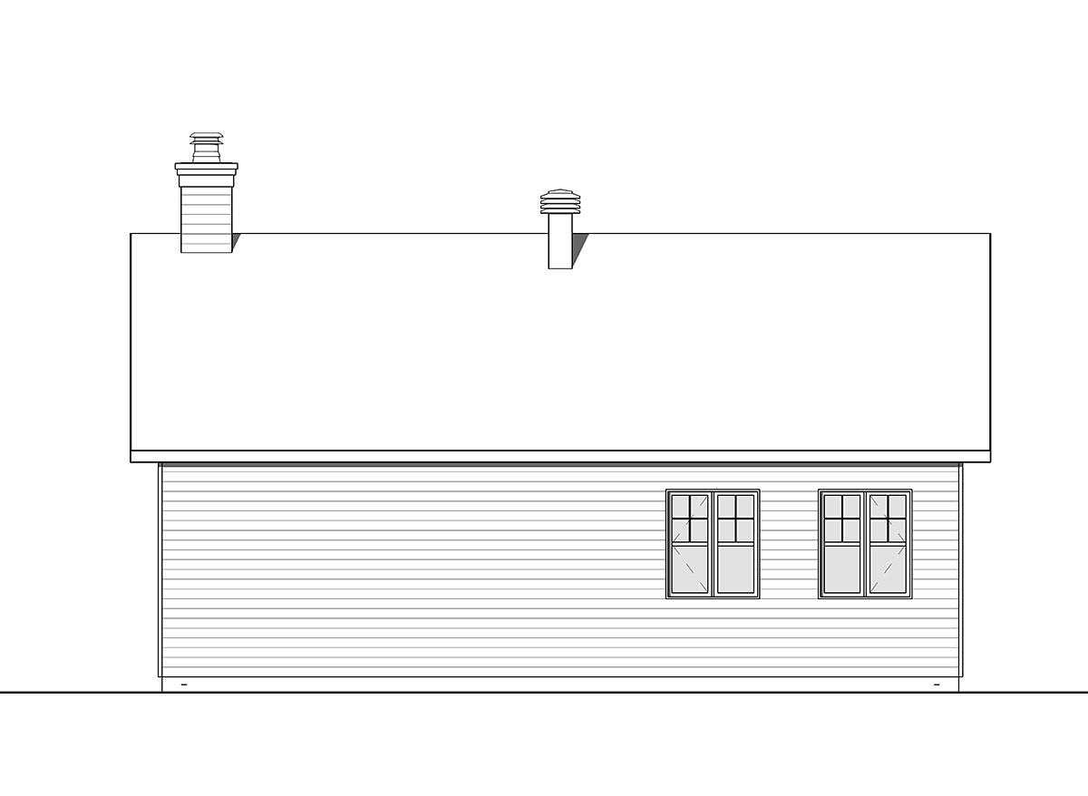 Cape Cod, Contemporary, Farmhouse 1 Car Garage Plan 76560 Rear Elevation