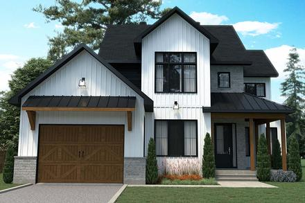 Country Craftsman Farmhouse Elevation of Plan 76569